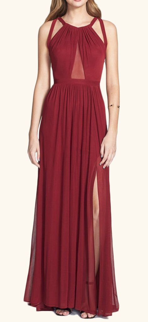 2017 Elegant Simple Cheap Prom Dress, Halter Chiffon Burgundy Long Prom Dress Simple Formal Party Gown