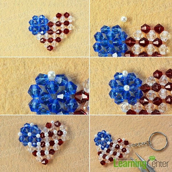 Wanna try easy beading keychain? If yes, you can never miss today's Pandahall tutorial on how to make easy heart beading American flag keychain with glass beads for the Independence Day!