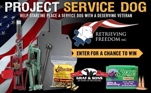 Go 2 http://woobox.com/4y5xs6/j2i05z for the Project Service Dog #Giveaway. You could win two reloading presses, bullets, brass cases, & more!