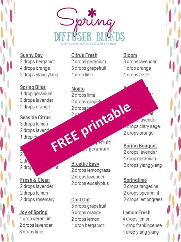 Click to get a free printable with 15+ of my favorite spring diffuser blends.     Spring has come to my little corner of