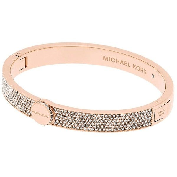 Michael Kors Cubic Zirconia and Crystal Bracelet (375 SAR) ❤ liked on Polyvore featuring jewelry, bracelets, rose gold, cz jewellery, michael kors bangles, crystal jewellery, studded jewelry and rose gold tone jewelry