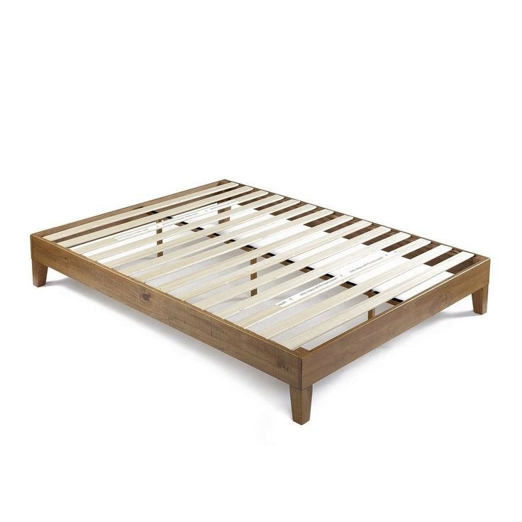 Queen Size Solid Wood Modern Platform Bed Frame in Rustic Pine Finish – Hearts Attic