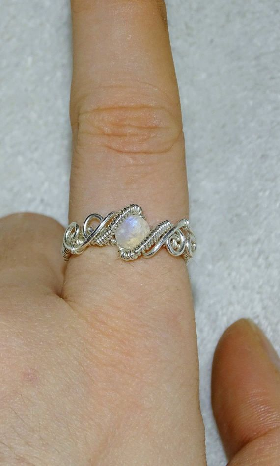 Moonstone sterling silver ring. Wire wrapped ring unique