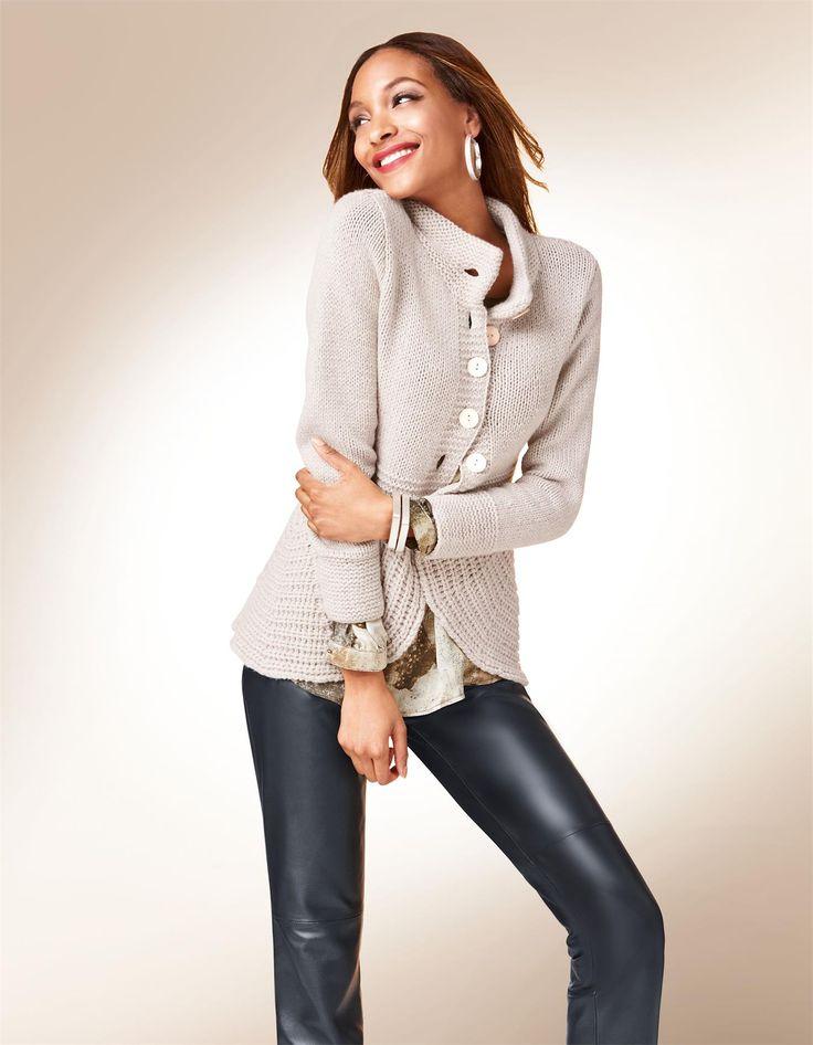 Strickjacke aus reinem Kaschmir in den Farben helltaupe, rosenquarz, wollweiß, grau - elfenbein - taupe, rosa, weiß - im MADELEINE Mode Onlineshop