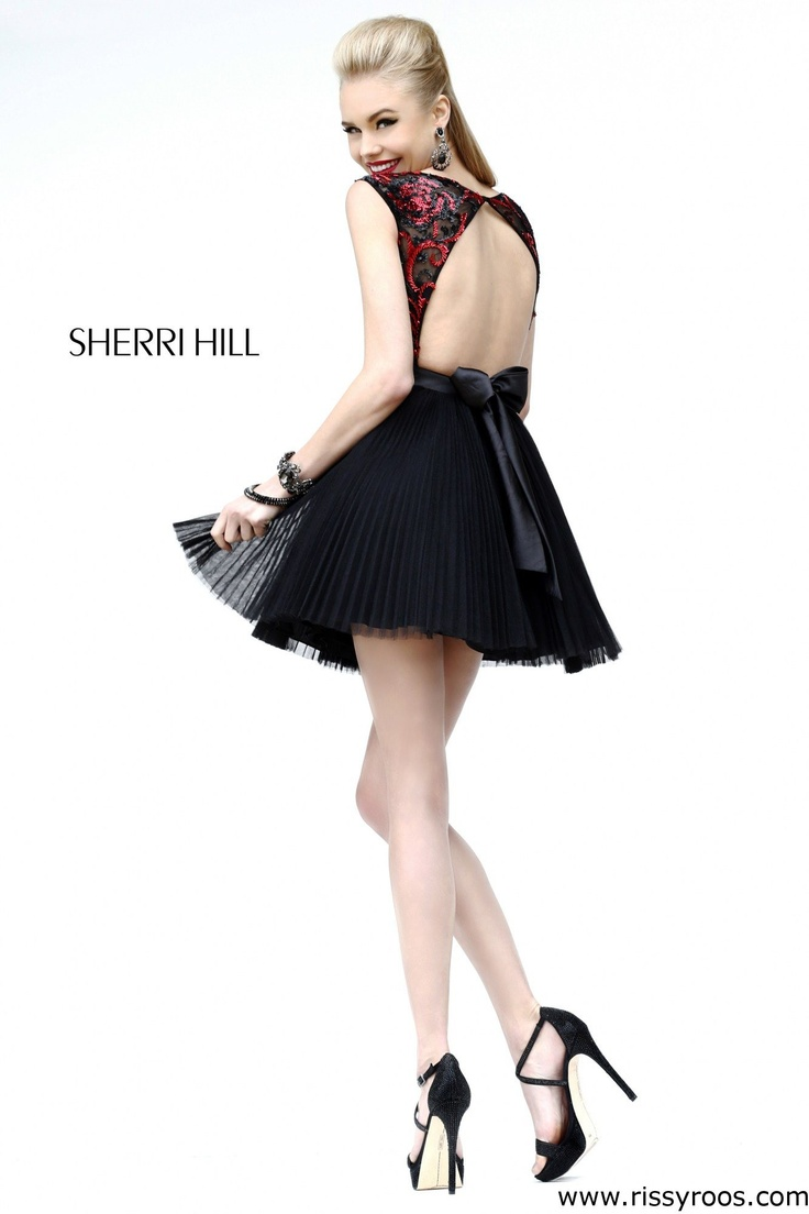 Stunning Black and Red Open Back Short Prom Dress - Sherri Hill ...