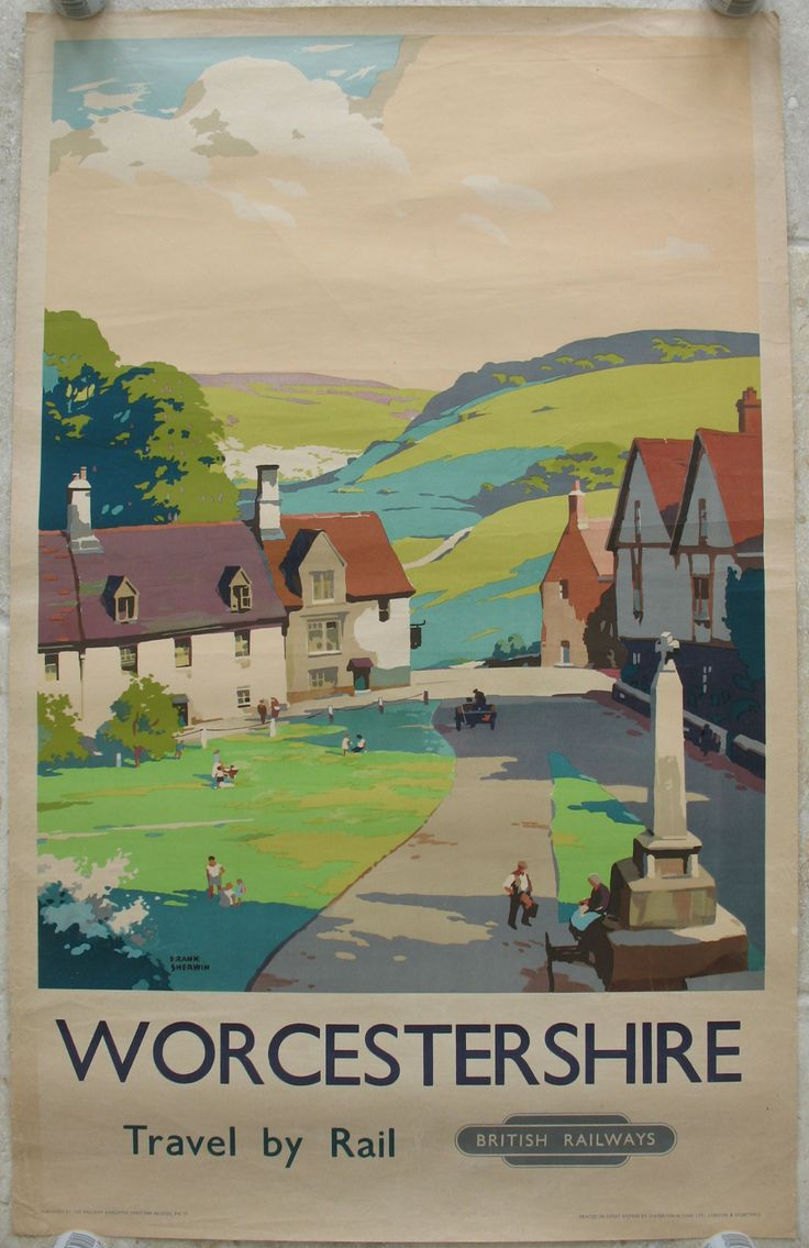Worcestershire, by Frank Sherwin. An un-named peaceful Worcestershire village, with its green and stone war memorial cross, and the rolling hills in the background. Original Vintage Railway Poster available on originalrailwayposters.co.uk