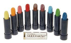 "Moodmatcher from Fran Wilson Set of 10 Colors by MOOD Matcher. $27.50. Kiss Proof. 12 hour staying power. Will not transfer. The original Mood Matcher Lip Care Stick with SPF 6 combines Long Lasting 12 Hour Lip Color with the moisturizing powers of Aloe Vera and Vitamin E. Each shade changes according to your body chemistry for long-lasting ""personalized"" color. Use this color chart to determine what shade your MoodMatcher Lipstick will change to. The colors on this ch..."