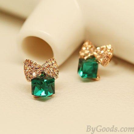 Bling Diamante Arco Cristal Cubo Plata Aguja Dulce Aretes Pernos Prisioneros