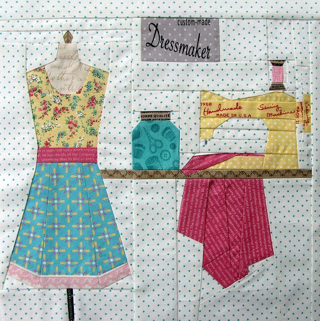 love this sewing themed block!