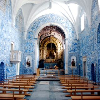 #Azulejo - Blue church in Arraiolos, Portugal
