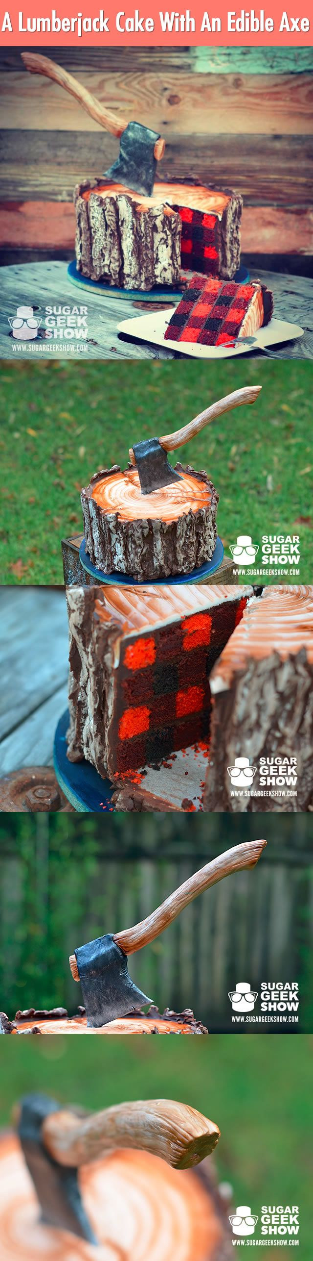 A crazy cake lover makes an unbelievable lumberjack cake, after he upload the picture to the internet within 48 hours, it has been shared over a million times on social media. YES, EVEN THE AXE IS EDIBLE! Resource: sugargeekshow.com