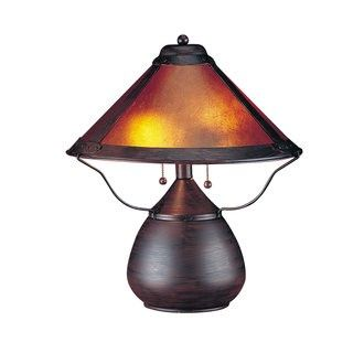 "Price: $97.61 Cal Lighting BO-464 80 Watt 17 Craftsman / Mission Table Lamp with On/Off Switch and Round Mica Shade - 80 Watt 17"" Craftsman / Mission Table Lamp with On/Off Switch and Round Mica Shade  Uses (2) 40 watt medium base incandescent bulbs (Not Included)Product dimensions: 17""H x 15""WShade crafted from mica materialShade dimensions: 8""H x 15""W"