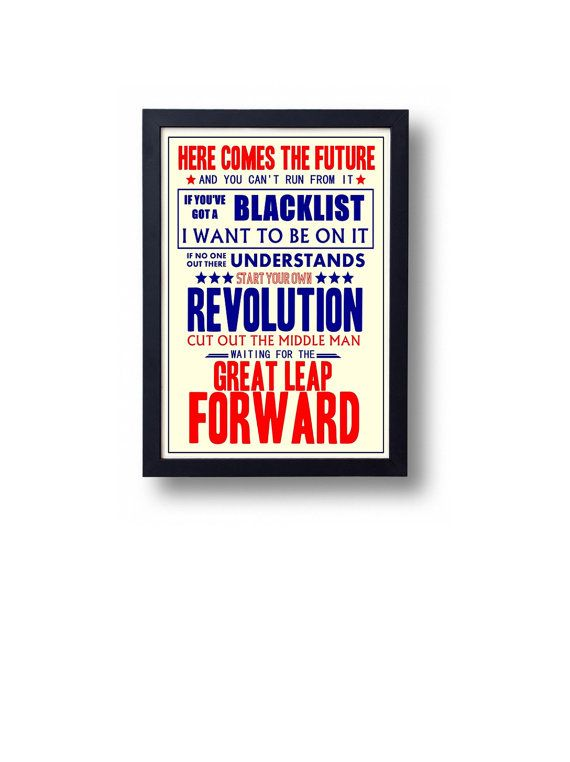 Great Leap Forward Billy Bragg Lyric Typography by indieprints, $15.00