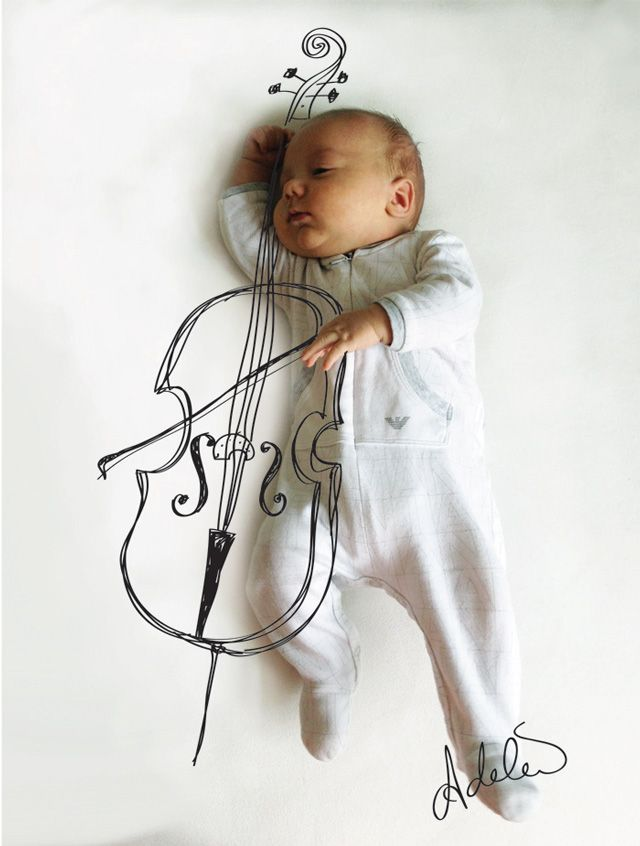 Cute sketches imagine what a baby is doing while taking a nap. {Artwork by: Adele Enerson} Playing the Cello