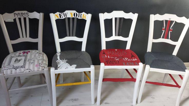 Relooking de 4 chaises paillées