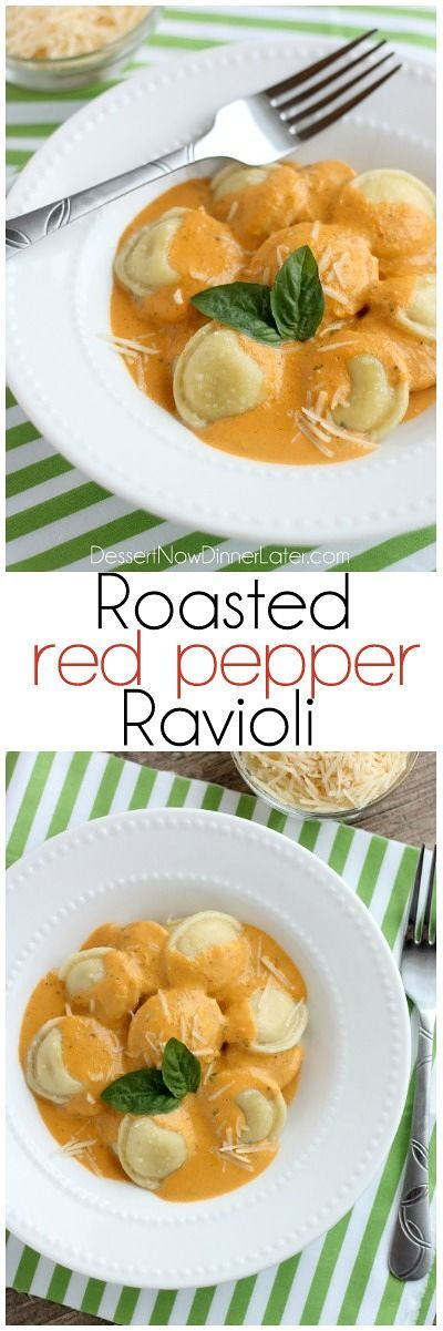 Roasted Red Pepper Ravioli - Fresh and creamy roasted red pepper sauce atop al dente cooked cheese filled ravioli, for a restaurant-quality Italian dish made easy at home!