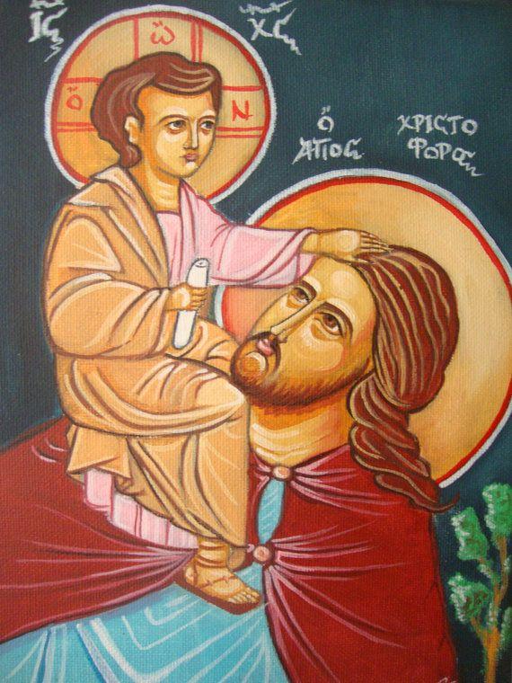 Saint Christopher - Αγιος Χριστοφορος - Jesus Christ - Original Hand Painted Greek  Religious Christian Icon On Canvas 18x25cm FREE SHIPPING on Etsy, 55,00€