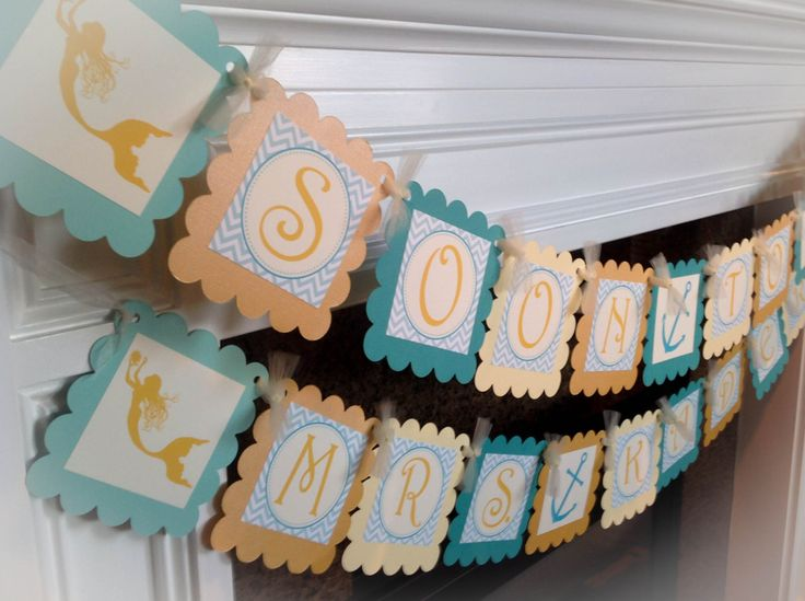 """Nautical Mermaid Bridal Shower Soon To Be Mrs. """"NAME"""" Banner - Aqua Chevron & Gold, Ivory and Teal Accents - Party Packs Available #babyshowerideas4u #birthdayparty  #babyshowerdecorations  #bridalshower  #bridalshowerideas #babyshowergames #bridalshowergame  #bridalshowerfavors  #bridalshowercakes  #babyshowerfavors  #babyshowercakes"""