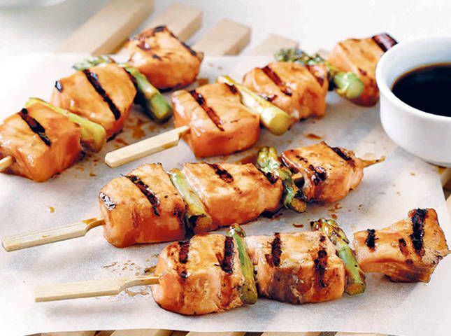 stick, Salmon skewers and Dinner on Pinterest