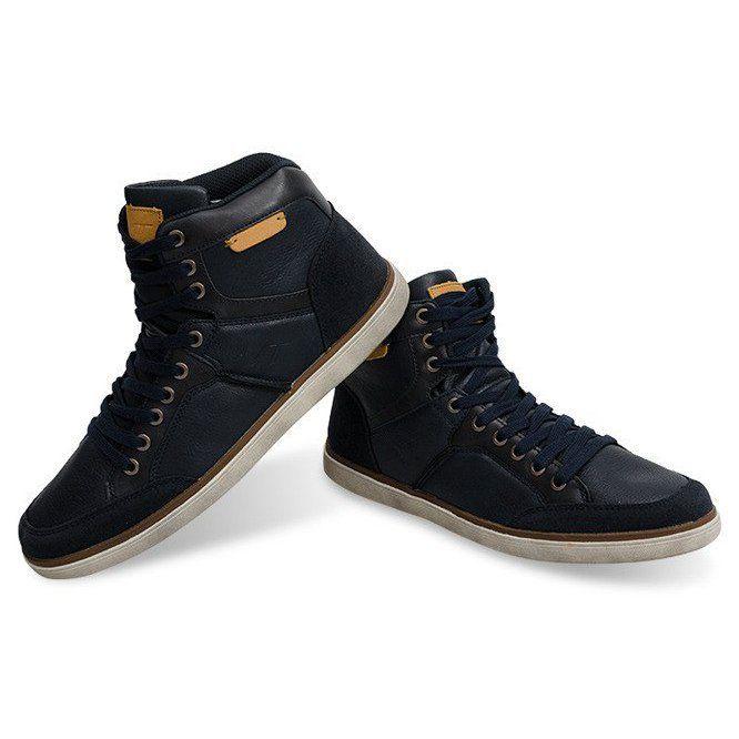 Wysokie Trampki Skora Naturalna Xf117 Granatowy Granatowe High Sneakers Sneakers Leather