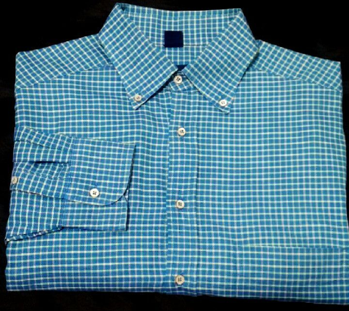Jeff Rose- Aqua Blue Check, 100% Cotton, BD Fashion Shirt- size L