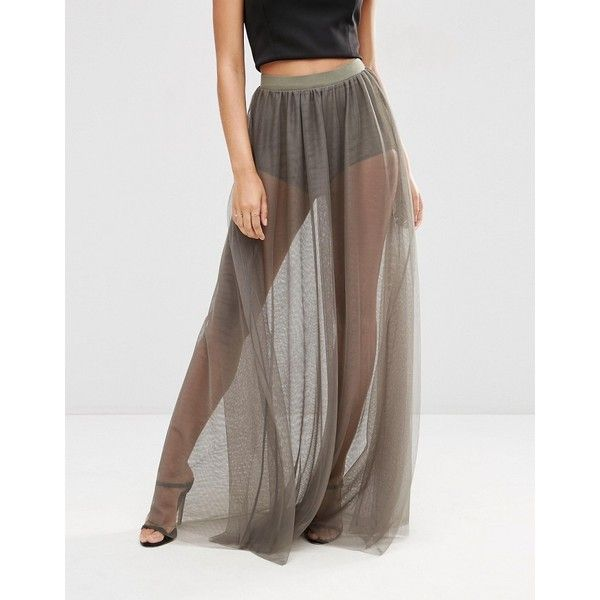 73815a7a4085 ASOS Sheer Maxi Skirt with Knicker Short ($47) ❤ liked on Polyvore  featuring skirts, see through skirt, tall skirts, high waisted short ski…