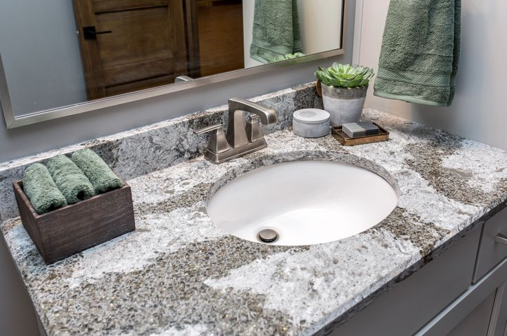 This Cambria quartz Galloway countertop adds a bit of glam to the space.
