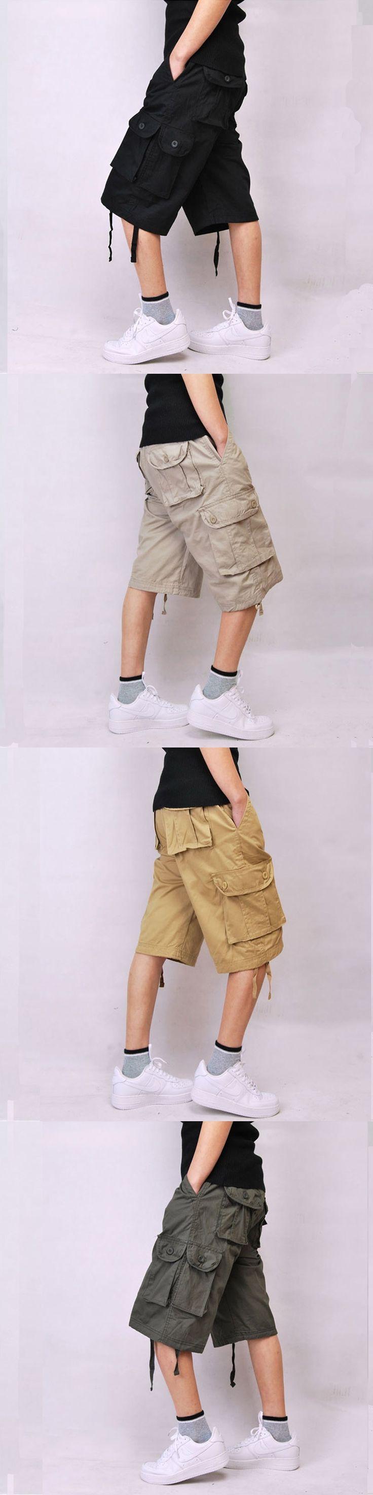 Baggy Beige Multi-pocket Khaki Green Men's Cargo Shorts Black Cotton Hip pop Plus Size 30-44 Army Military Combat
