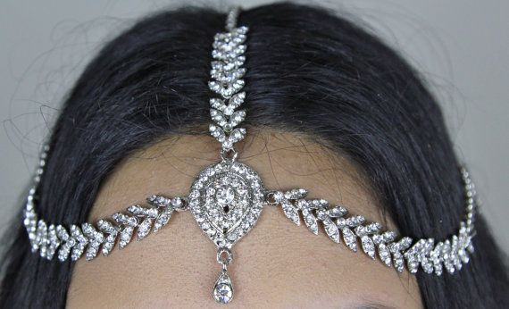 Handmade Kundan Stones Hair Chain Head Chain By