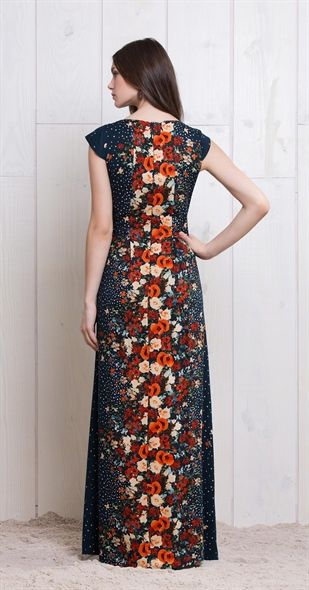 Vestido Longo Chuva De Flores