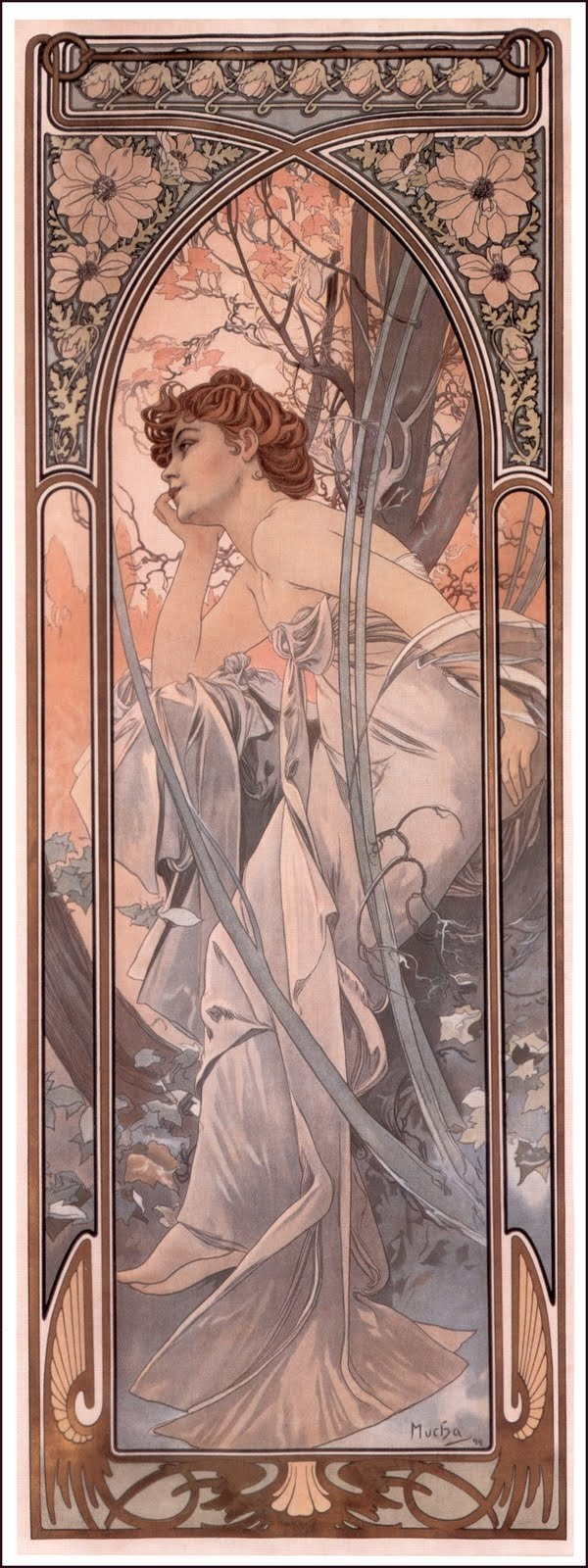 """Evening Reverie"" from Alphonse Mucha's 'Time of Day' Series. 1899. 'Rêverie du Soir'."