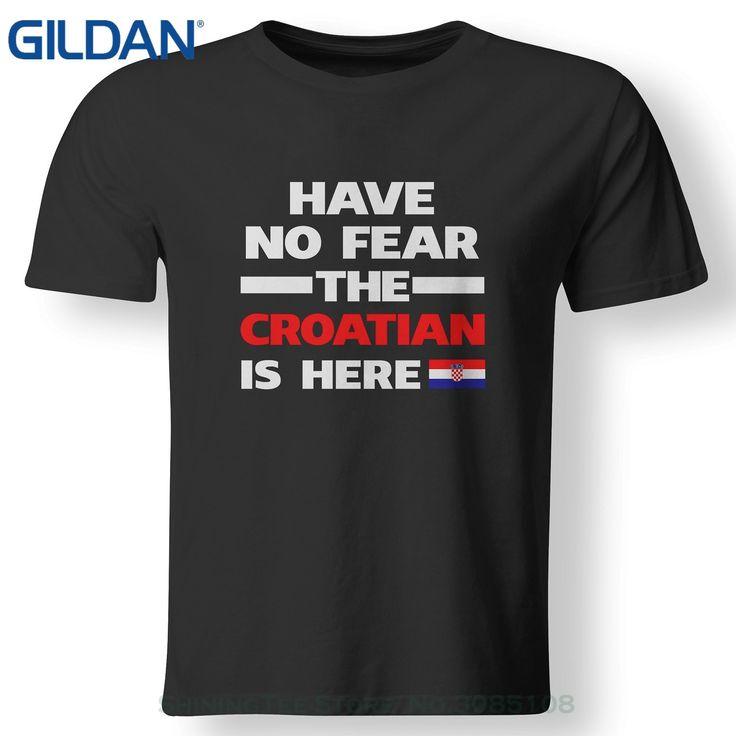 GILDAN Print Cotton High Quality No Fear Croatian Is Here Croatia Pride Funny Flag T Shirt