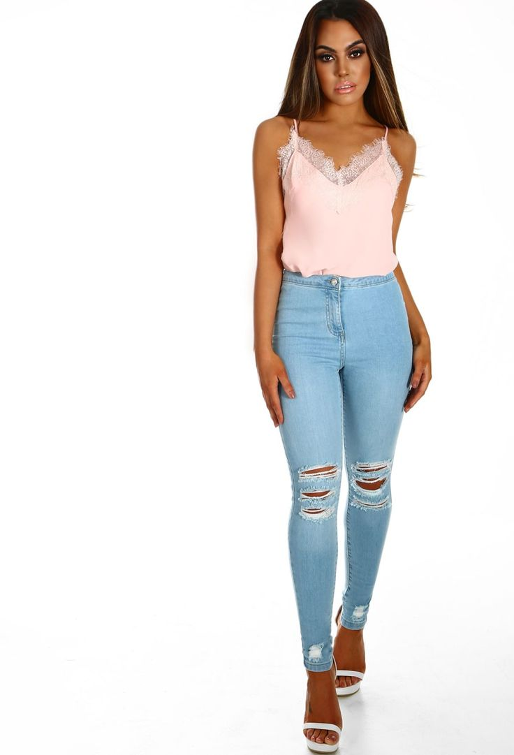 Feeling You Light Blue Distressed High Waisted Skinny Jeans | Pink Boutique