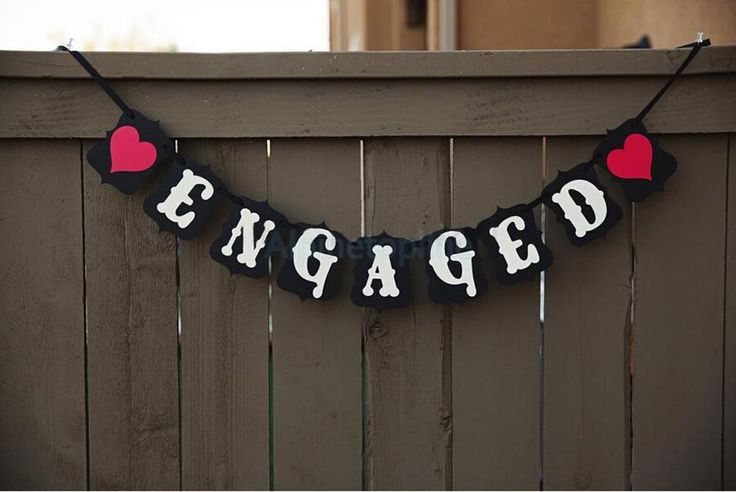 ENGAGED Bunting Garland Banner Wedding Engagement Party Decor Photo Props #Handmade