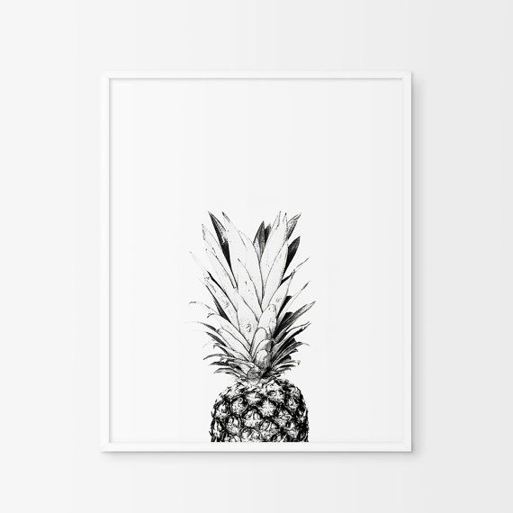 Pineapple - Pineapple Print - Pineapple Photo - Pineapple Photography - Black and White Art