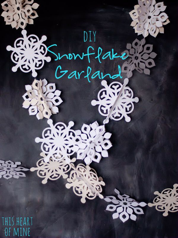 Snowflake Garland and twinkle lights or snowflakes transforming into flowers