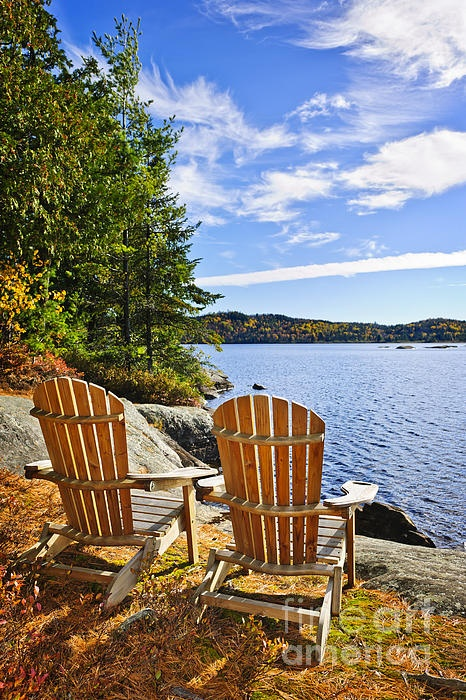 Adirondack Chairs At Lake Shore