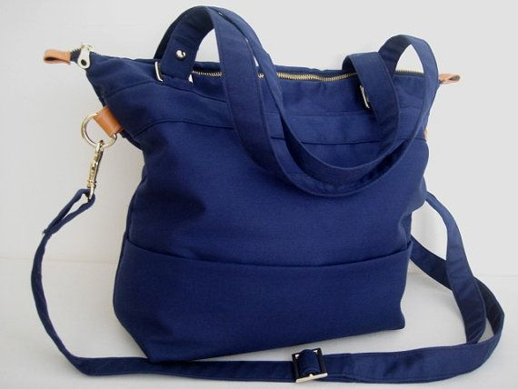 Tote cotton canvas shoulder  bag in navy blue /laptop canvas bag/shoulder bag/messenger bag/ laptop tote bag /tote purse/travel tote