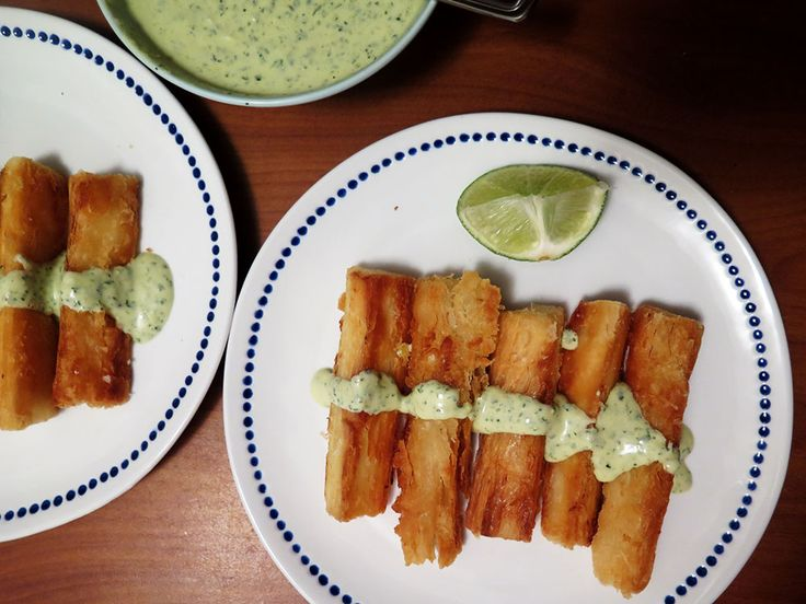 Yuca-Frita with tangy lime cilantro sauce