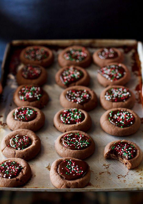 Mini Chocolate Thumbprint Cookies #dessert #recipe #delicious #cook