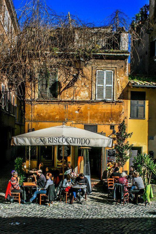 Cafe in Trastevere, Rome, Italy I love this neighborhood