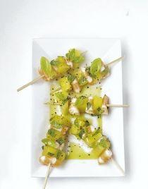 Brochettes crevettes et ananas