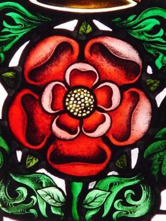 Tudor rose Heraldic English stained glass window