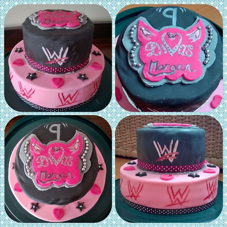 Diva wrestling WWE 2 tier birthday cake First attempt at icing a cake  please excuse the. 14 best WWE DIVAS BIRTHDAY PARTY IDEAS images on Pinterest   Diva