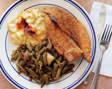 Throw a Proper Southern Fish Fry.  However, real Southern sides are cole slaw, pickled green tomatoes, fries, hush puppies made with grated onion.  Fry your fish, fries and hush puppies in peanut oil.