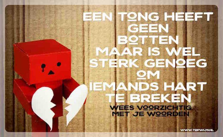 Een poster tegen pesten: Een tong heeft geen botten, maar is wel sterk genoeg om iemands hart te breken. Wees voorzichtig met je woorden.…