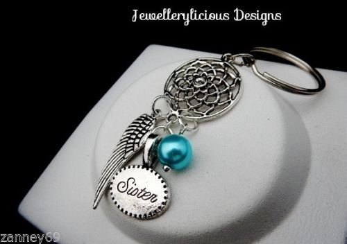 Beautiful-Silver-Sister-Charm-Dream-Catcher-Keyring-Key-Ring-Lovely-Gift