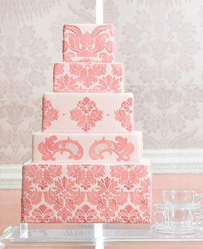 beautiful pink and blush damask cake