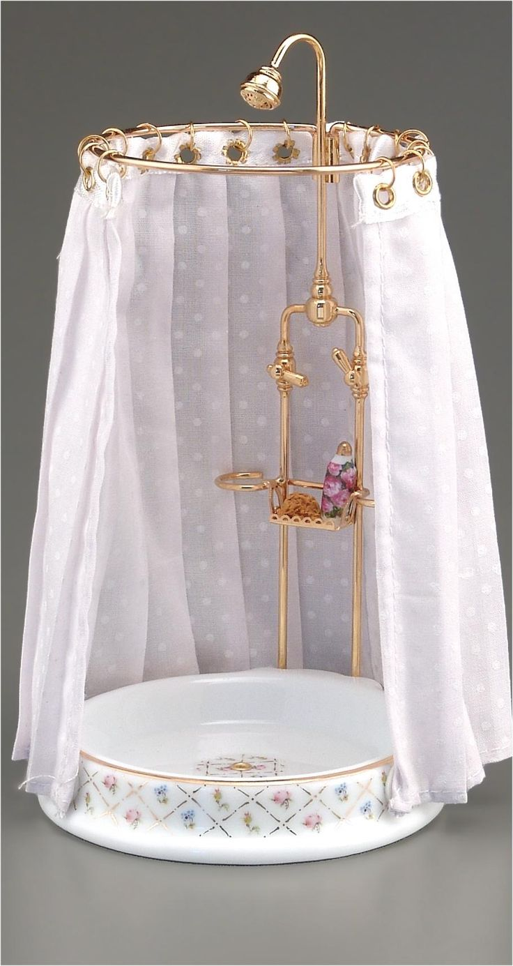 Gold Crosshatch Shower   Mary's Dollhouse Miniatures