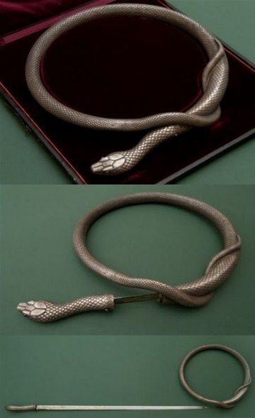 A rapier, manufactured in the mid-19th century by the technology of the old masters as a gift to one high-ranking person. Such exceptionally flexible rapiers were made in Toledo in the beginning of 17th century. They were sold in gun shops and coiled in a circle to show its flexible properties.